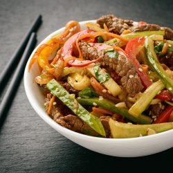 Овощи с мясом по-корейски