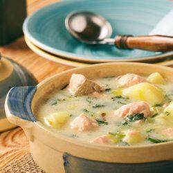 картофельный суп с семгой