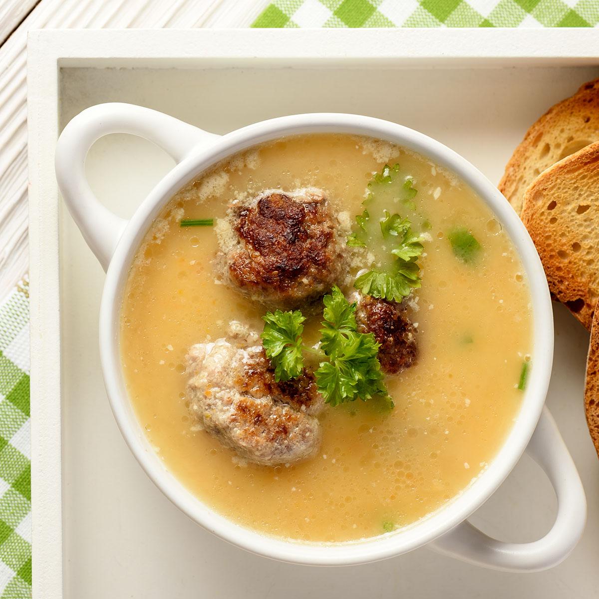 Овощной крем-суп с фрикадельками